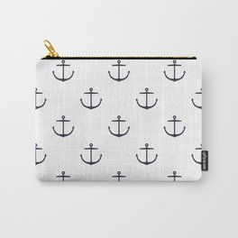 Yacht style. Anchor. Navy blue & white. Carry-All Pouch
