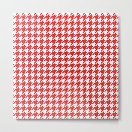 Red Houndstooth Pattern Metal Print