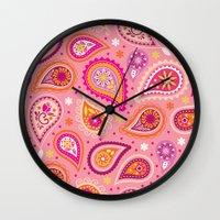 Colorful summer paisleys Wall Clock