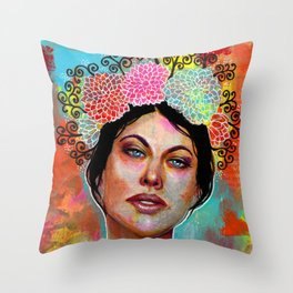 Flower Rainbow Girl in Mixed Media Throw Pillow