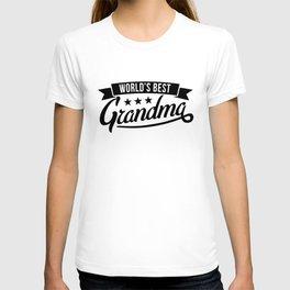 Womens Worlds Best Grandma Funny Grandmother Family Tee For Granny Grandma T-shirt