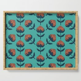 Abstract Australian Banksia Flower Pattern on teal Serving Tray