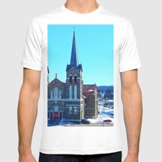 Stone Church of Sainte-Anne-Des-Monts White Mens Fitted Tee MEDIUM