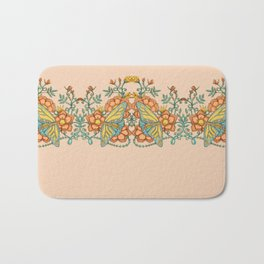 Butterflies over Garden of Thorns and Roses Bath Mat
