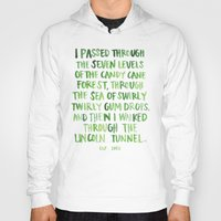 will ferrell Hoodies featuring candy cane forest by rad owl LLC
