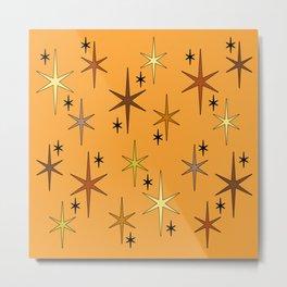 Mid Century Modern Star Sky Orange Metal Print