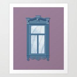 Blue Windowsill Art Print