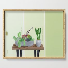 Cacti and Succulents on Greens Serving Tray
