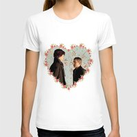johnlock T-shirts featuring Hearted Johnlock by thescudders