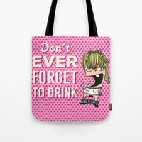drunk Tote Bags featuring DRUNK GIRL by flydesign