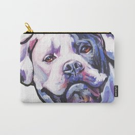 American Bulldog Portrait Dog bright colorful Pop Art by LEA Carry-All Pouch