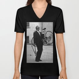 Bill F Murray stealing a bike. Rushmore production photo. Unisex V-Neck