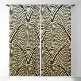 Golden Art Deco pattern Blackout Curtain