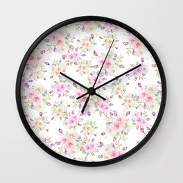 Girly pink lavender teal watercolor rose floral pattern Wall Clock
