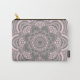 Mandala Flower Gray & Ballet Pink Carry-All Pouch