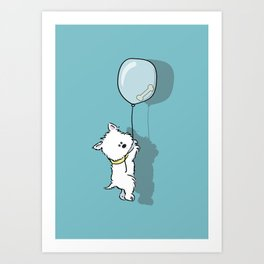 Hungry Westie Puppy Art Print