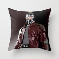 star lord Throw Pillows featuring Star Lord Fan Art by Vito Fabrizio Brugnola