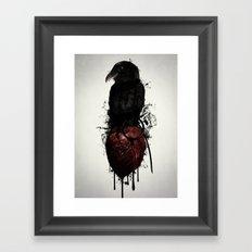 Raven and Heart Grenade Framed Art Print