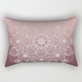 White Lace Flowers and Leaves Boho Floral Mandala on Dusty Rose Pink Rectangular Pillow