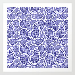 Paisley (Navy Blue & White Pattern) Art Print
