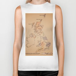 Regions of the United Kingdom vintage map Biker Tank