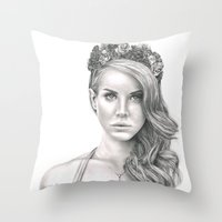 the national Throw Pillows featuring National Anthem by petitehoneybee