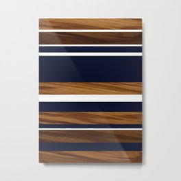 Wood Navy Blue White Stripes #1 #minimal #decor #art #society6 Metal Print