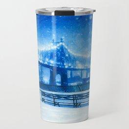 Snow Over Queensboro Bridge, New York City Travel Mug
