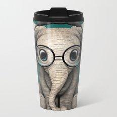 Cute Baby Elephant Dj Wearing Headphones and Glasses on Blue Metal Travel Mug