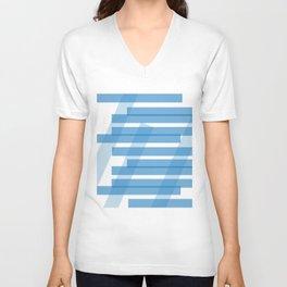 Electric Blue Slats Unisex V-Neck