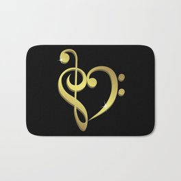 Treble clef, bass clef music heart love Bath Mat