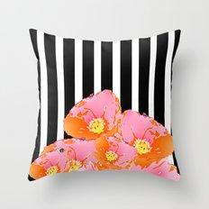 Poppy Stripes - Pink Throw Pillow