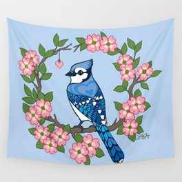 Chevron Hearts Blue Jay Wall Tapestry