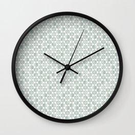 Gray Green and White Hexagonal Block Print Pattern Wall Clock