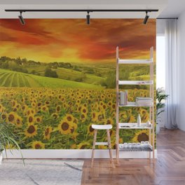 Tuscany Sunflower Fields and Vineyards Red Sunset Landscape Wall Mural
