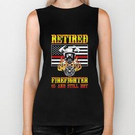 Retired Firefighter 65th Birthday Thin Red Line Flag Biker Tank