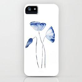 indigo poppy watercolor iPhone Case