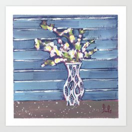 Blue Flowers in Vase Art Print