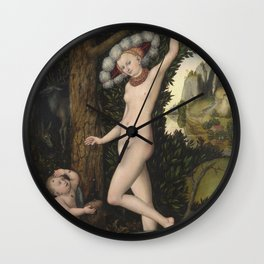 Lucas Cranach The Elder - Cupid Complaining To Venusabout Wall Clock