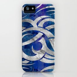Abstract Maori curve shapes - Silver & Purple iPhone Case