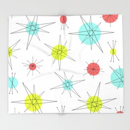 Atomic Age Colorful Planets Throw Blanket