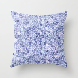Pale Blue Cobbled Patchwork Terrazo Pattern Throw Pillow