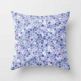Pale Blue Cobbled Patchwork Irregular Pattern Throw Pillow