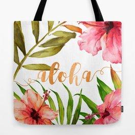 Aloha Watercolor Tropical Hawaiian leaves and flowers Tote Bag