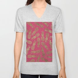 Tropical neon pink faux gold pineapple fruit pattern Unisex V-Neck