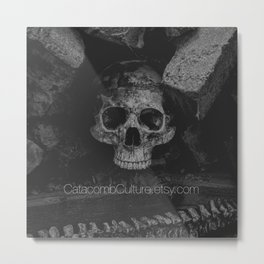 Catacomb Culture - Black and White Human Skull Metal Print