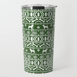 Bloodhound fair isle christmas sweater green and white minimal dog silhouette holiday gifts Travel Mug