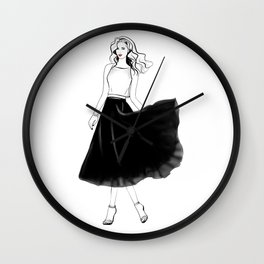 18.001 Lady in black Wall Clock