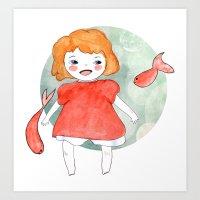 ponyo Art Prints featuring Ponyo by munieca