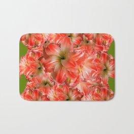 Peppermint Color Amaryllis Flower Avocado Pattern Bath Mat